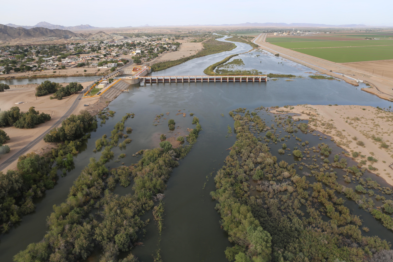 Morelos Dam Aerial at Peak Pulse Flow Looking North April 2014